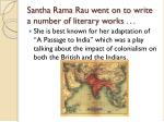 santha rama rau went on to write a number of literary works