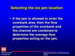 selecting the ice jam location3