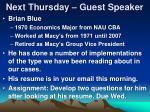 next thursday guest speaker