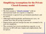 simplifying assumptions for the private closed economy model