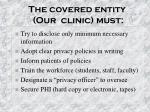 the covered entity our clinic must