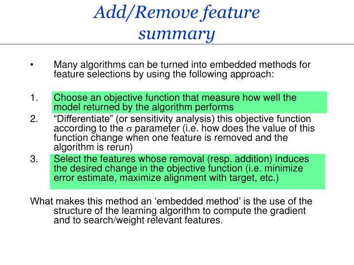 Add/Remove feature