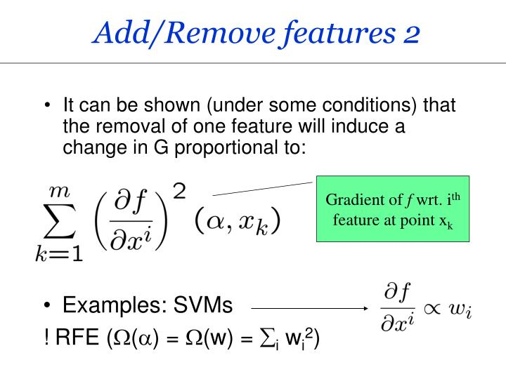 Add/Remove features 2