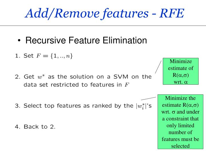 Add/Remove features - RFE