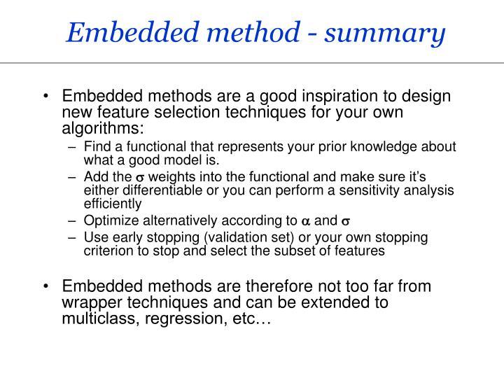 Embedded method - summary