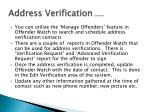 address verification continued