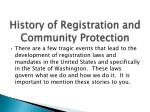 history of registration and community protection