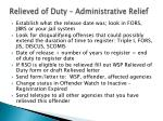 relieved of duty administrative relief
