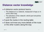 distance vector knowledge
