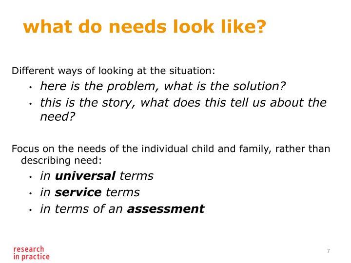 what do needs look like?