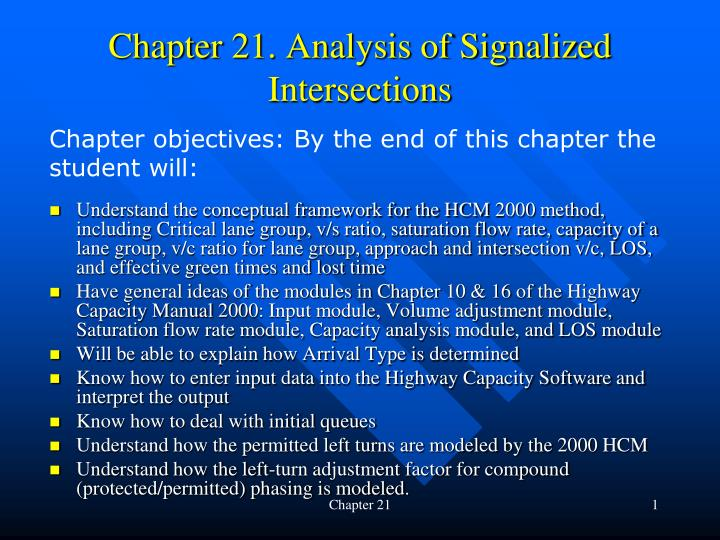 chapter 21 analysis of signalized intersections n.