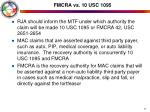 fmcra vs 10 usc 1095