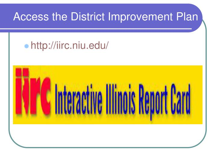 Access the District Improvement Plan