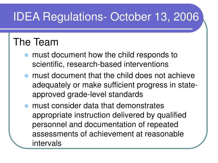 IDEA Regulations- October 13, 2006