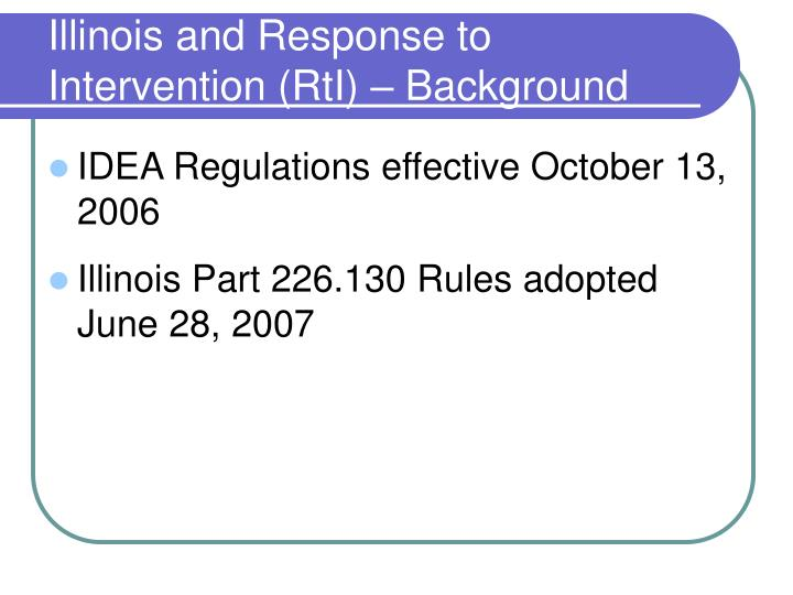 Illinois and Response to Intervention (RtI) – Background