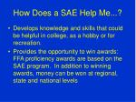 how does a sae help me2
