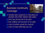 business continuity coverage