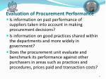 evaluation of procurement performance