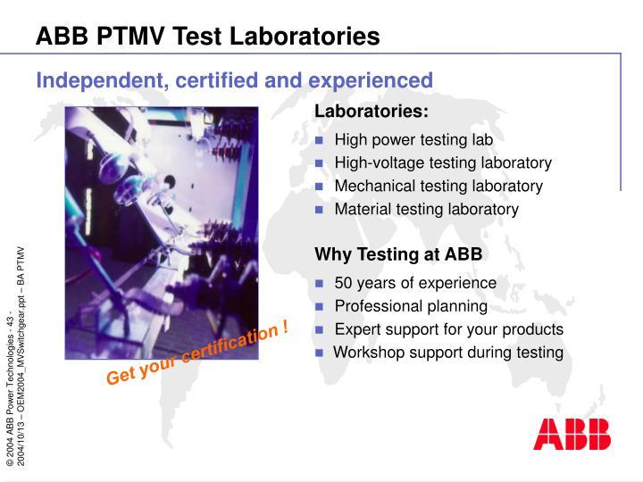 ABB PTMV Test Laboratories