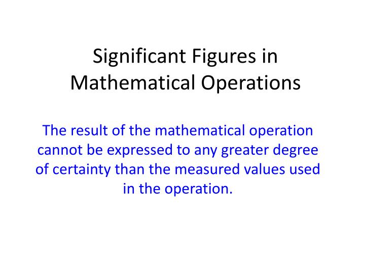 significant figures in mathematical operations n.