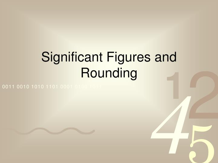 significant figures and rounding n.