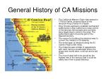 general history of ca missions