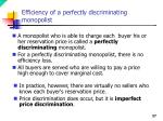 efficiency of a perfectly discriminating monopolist