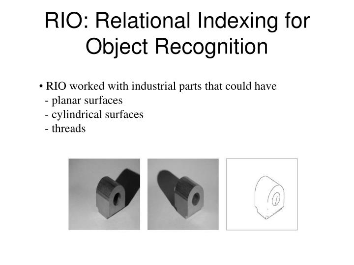 rio relational indexing for object recognition n.