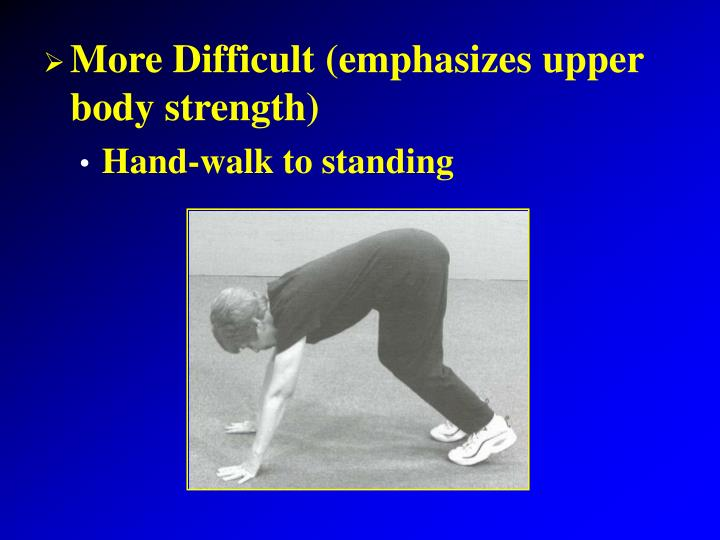 More Difficult (emphasizes upper body strength)