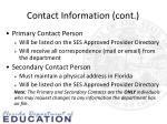 contact information cont