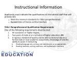 instructional information