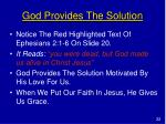 god provides the solution