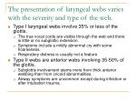 the presentation of laryngeal webs varies with the severity and type of the web