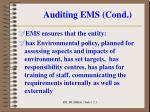 auditing ems cond
