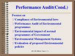 performance audit cond