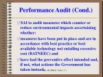 performance audit cond10