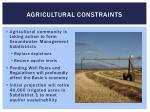 agricultural constraints