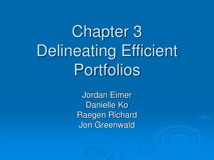 chapter 3 delineating efficient portfolios n.