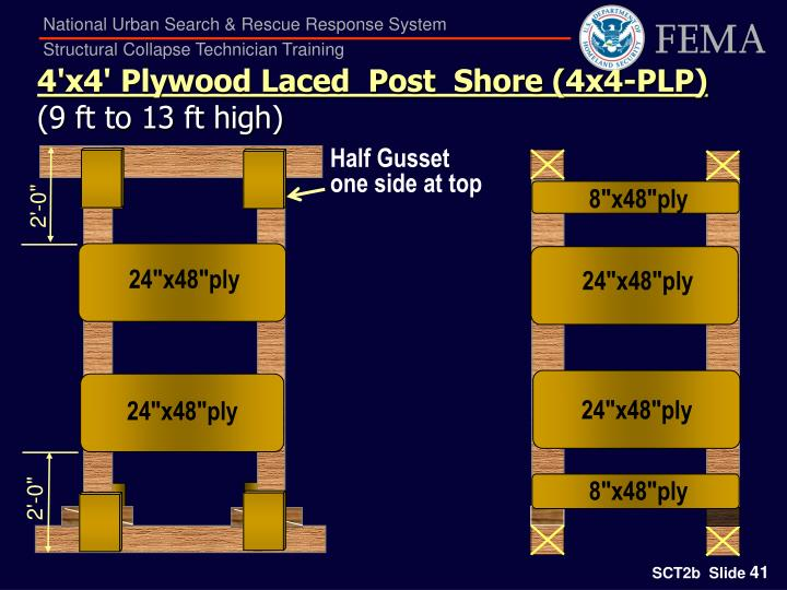 4'x4' Plywood Laced  Post  Shore (4x4-PLP)