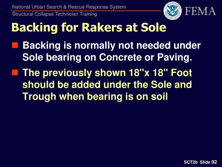 Backing for Rakers at Sole