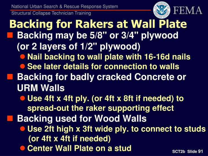Backing for Rakers at Wall Plate