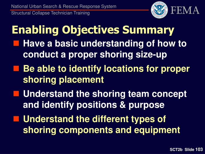 Enabling Objectives Summary