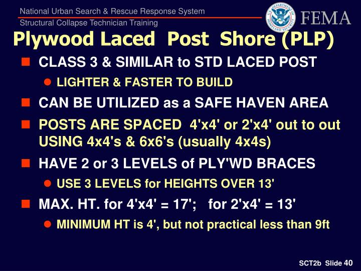 Plywood Laced  Post  Shore (PLP)