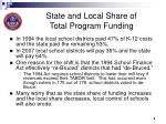 state and local share of total program funding