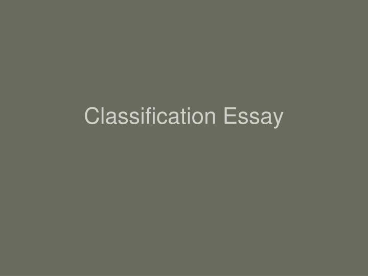 classification essay n.