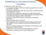 establishing an international advisory committee