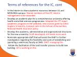 terms of references for the ic cont