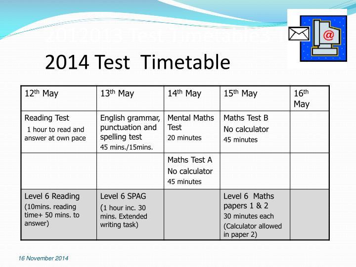 2012013 Test Timetable3 Test