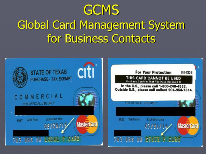 gcms global card management system for business contacts n.