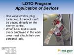 loto program application of devices